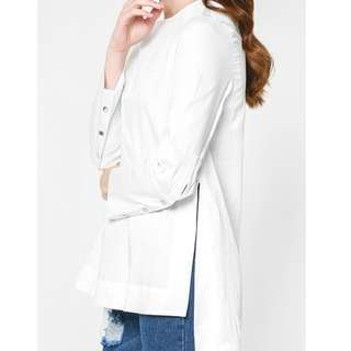 Helen Buttoned Sleeve Blouse in White