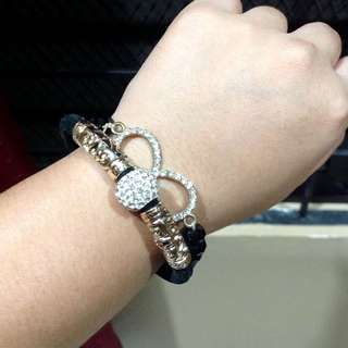 Swarovski and Infinity Sign Black Bracelets Bundle
