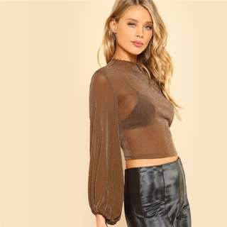 Bishop Sleeve Glitter Mesh Top Spring Stand Collar Slim Fit Woman Top Sheer Stretchy Crop Blouse