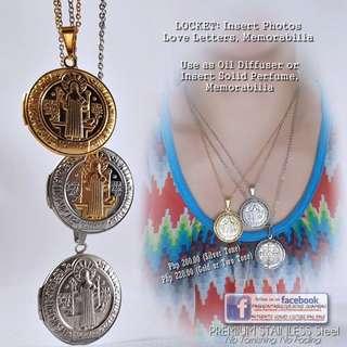 St Benedict Locket Necklace - Jubilee Medal (NON TARNISH)
