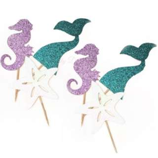 Under The Sea Mermaid Theme Cupcake Toppers 6pcs/pack