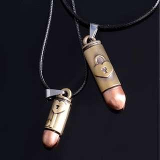 Bullet Pendant Lovers Copper Brass Couple Necklaces