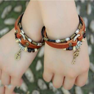 EVERMARKER Key And Lock Vintage Leather Handmade Couple Bracelets