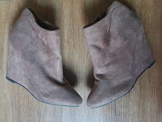 Forever 21 Suede Wedge Ankle Boots
