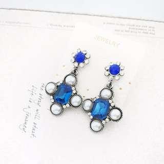 🎠藍寶石 韓系耳環