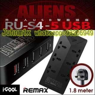 REMAX Aliens 智能拖板 6個三腳插 + 5 USB插頭 1.8米線長, 5 USB + 6 13A Plug