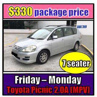 Fri to Mon Car Rental Toyota Picnic 2.0A (3-Day Weekend Package)