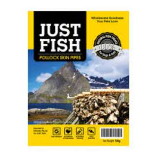 CLEARANCE - Just Fish Pollock Skin PIpes 100g