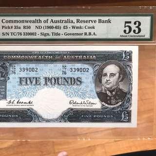 Rare 1960 Australia 5 Pound PMG 53