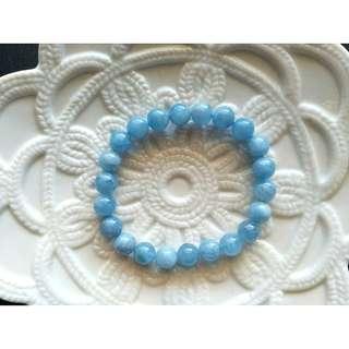 2號。8MM天然海藍寶手鍊手珠。現貨。3月幸運石