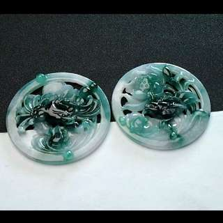 🏵️Grade A 冰糯 Green Floral 花开富贵 Flower Jadeite Jade Pendant/Display🏵️