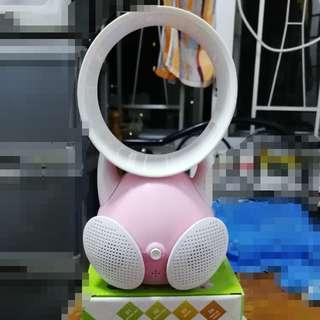 (二合一 ) 迷你無葉風扇+立體聲嗽叭  USB充電 可接手機聽歌睇戲