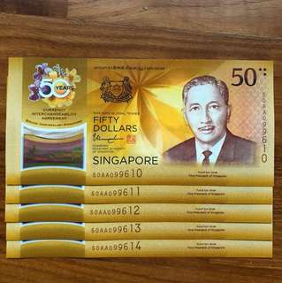 50 YEARS ANNIVERSARY  Singapore Brunei Commemorative Note 5 RUNS