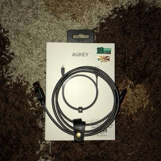 Aukey MFI braided lightning cable (black)