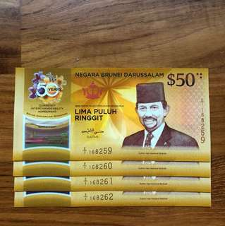 50 YEARS ANNIVERSARY CIA Singapore Brunei Commemorative Note 4 RUNS