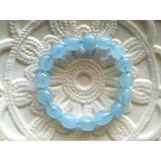 10-12MM天然海藍寶蛋型手鍊手珠。現貨。3月幸運石
