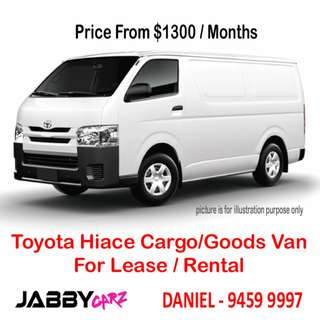 Toyota Hiace Cargo/Goods Van For Leasing
