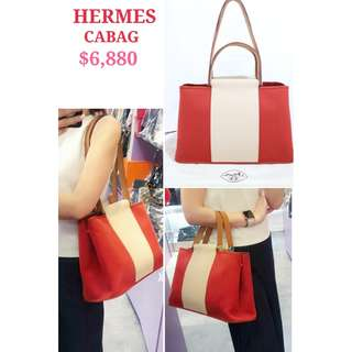 80% New HERMES Cabag Elan 紅色 杏色 帆布 肩背袋 手袋  Red/ Light Beige Cabag Elan Handbag