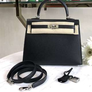 Authentic Hermes Kelly 25 Black Epsom