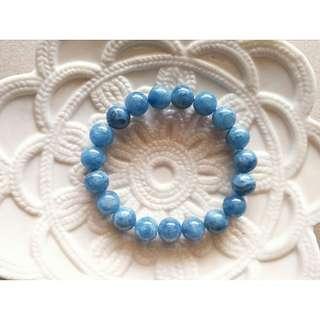 11號。10MM天然海藍寶手鍊手珠。現貨。3月幸運石