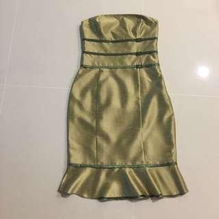 Classy green bustier dress