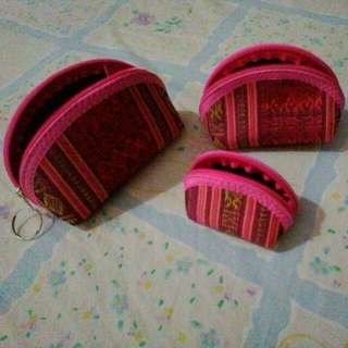 coin purse 3in1 keychain from vietnamese weaving cloth