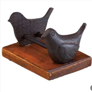 Zinc Washi Tape Holder with Wooden Base - Bird Design