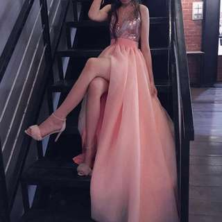Prom Dress Light Pink Slit  V Cut