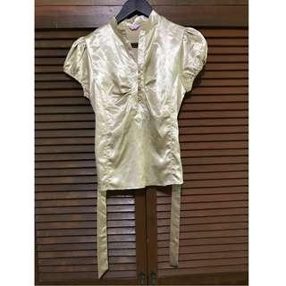 Gold Silk Puffed-sleeved Top