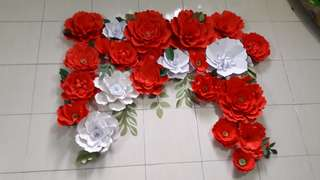 Paper Flowers - Red + White