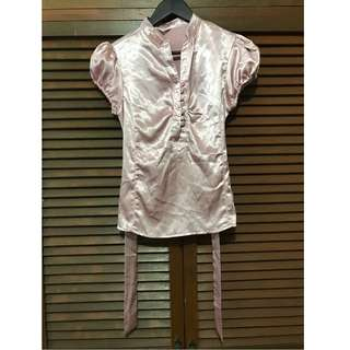 Pink Silk Puff-sleeved Top