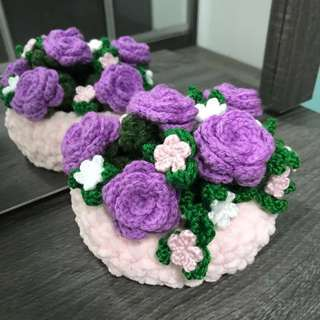 Basket of Crochet flowers roses - lilac