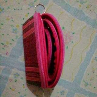 coin purse 3in1 keychain viatnamese weaving cloth