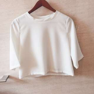 A for Arcade White Top with Zigzag Fabric