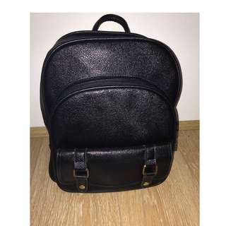 Black Faux Leather & Bronze Gold Simple Ulzzang Backpack