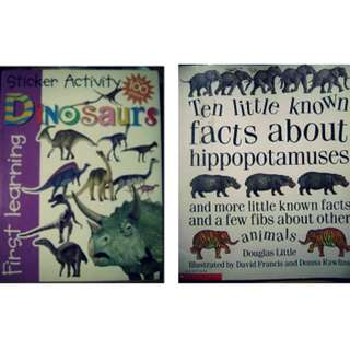 BUNDLE SALE: DINOSAUR STICKER BOOK & TEN LITTLE KNOW FACTS ABOUT HIPPOPOTAMUSES & MORE LITTLE KNOW FACTS AND A FEW FIBS ABOUT OTHER ANIMALS