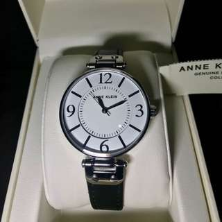 Anne Klein Women's Modern Black Leather strap Watch