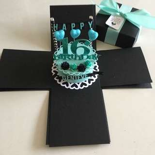 DIY Explosion box with cake in black & Tiffany