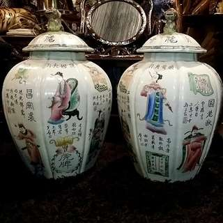 Pair Of Chinese Antique Vintage Porcelain Vases With Foo Dog Lid Handpainted