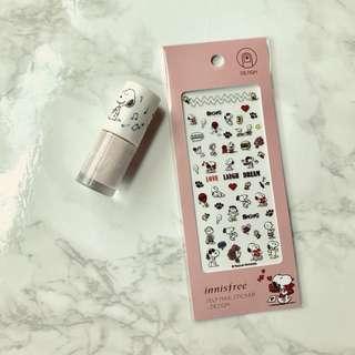 <Last!>💅🏻Rare Limited Edition Korea Innisfree Snoopy Nail Sticker and Nude Rose Nail Polish