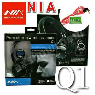 NIA Q1 4-in-1 Over-The-Ear Bluetooth Wireless Headphones With Direct MicroSD Card Mp3 Playback With Unbelievable Deep Bass. Wide Soundstage Sound Quality: At An Affordable Price.