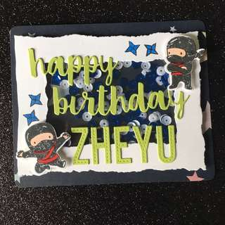 Ninja birthday shaker card