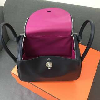 Hermes Lindy 26 Blue Indigo/Rose Purple Swift
