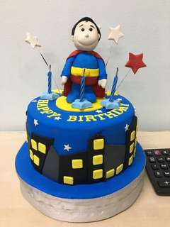 superman theme birthday cake