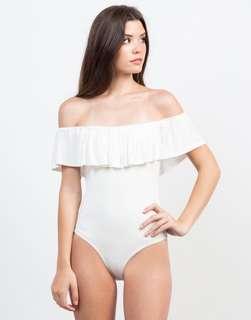 White Off-Shoulder Flutter Bodysuit