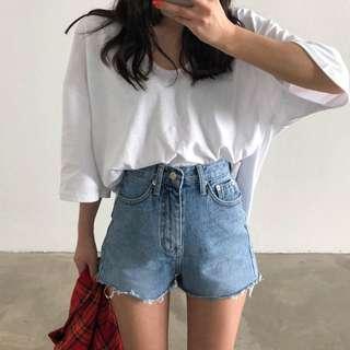 韓國高腰牛仔短褲