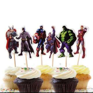 12pcs Marvel Avengers Cupcake Toppers Cake Topper Decoration Picks Birthday Party Iron Man Thor Superman Batman