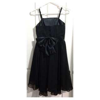 Women's Black Bow Satin Pleated Knee Strap Prom Formal Dress KPOP Twice Tzuyu