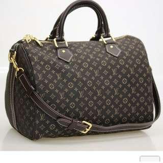 AUTH LOUIS VUITTON IDYLLE FUSAIN SPEEDY 30 BANDOULIERE  W/Strap Bag