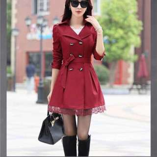 Red wine trench coat BN